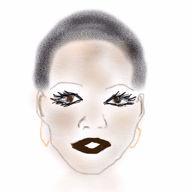 Trying for a head-draft of the beautiful Lupita Nyong'o