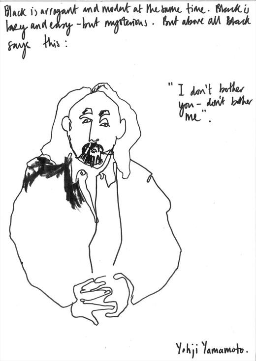 Yohji Yamamoto Illustration by Helen Bulloc