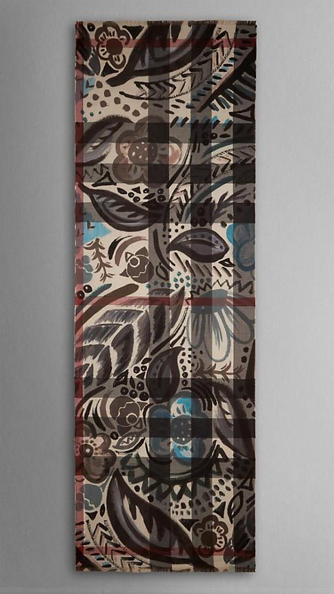 Burberry Floral Design Check Cashmere Scarf