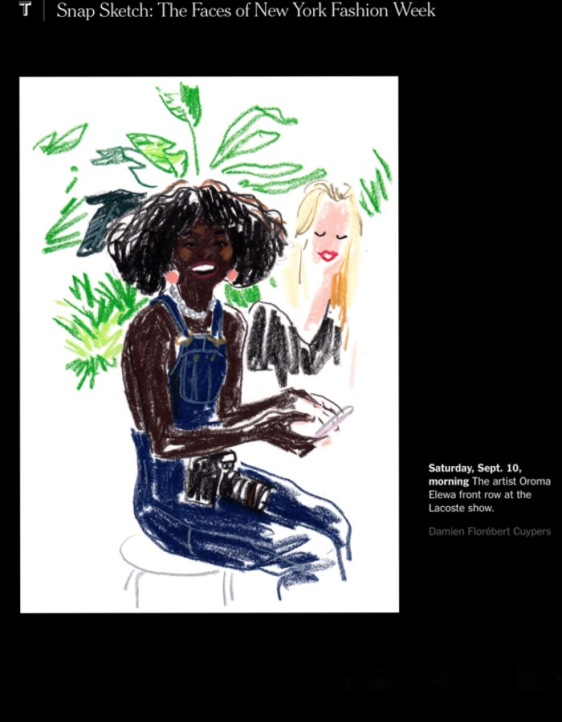 Seen in The New York Times: Snap Sketch: The Faces Of New York Fashion Week