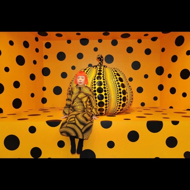 Kusama with Pumpkin, 2010 Courtesy of Ota Fine Arts, Tokyo/ Singapore and Victoria Miro Gallery