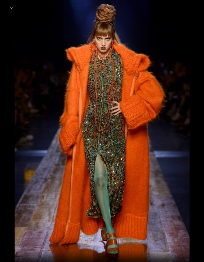 Jean Paul Gaultier: Orange Mohair Coat, Fall 2016 Couture