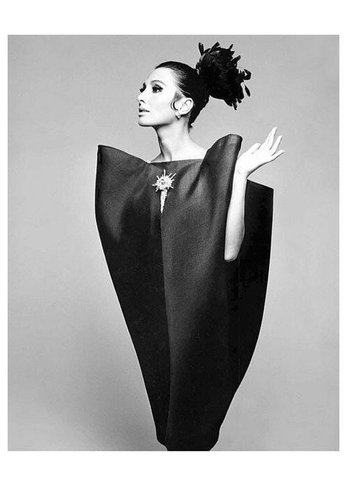 Alberta Tiburzi in 'envelope' dress by Cristóbal Balenciaga, 1967. Photograph by Hiro Wakabayashi for Harper's Bazaar. © Hiro 1967