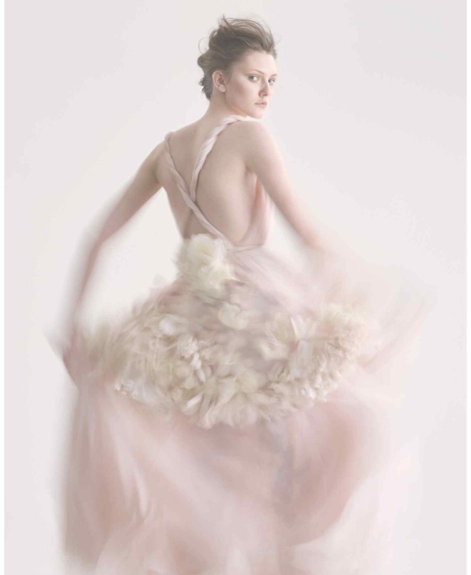 Credits: FT How To Spend It. Photography: Damian Foxe. Description: Reem Acra flower embellished organza skirt, about £3,200. Dior silk chiffon dress, £6,200. Rosamosario Chantilly lace and silk satin Bambinella I Love You trousers (just seen), about £530. VV Rouleaux silk and velvet rose, £15, and silk rose, £69