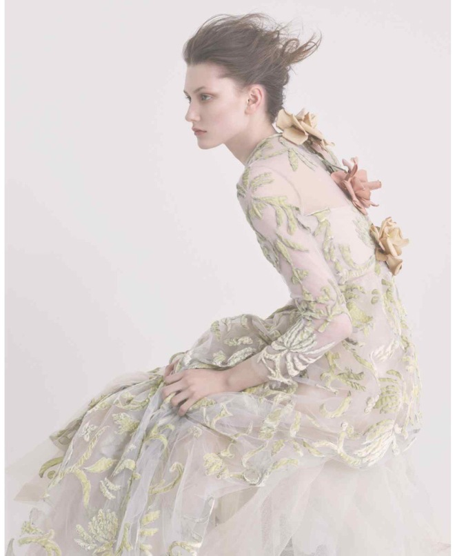 Credits: FT How To Spend It. Photography: Damian Foxe. Description: Valentino silk tulle and velvet embroidered dress, £13,285. VV Rouleaux cotton roses, £20 each