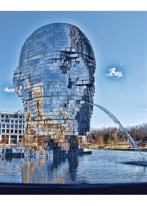 Metalmorphosis is a stainless steel water fountain sculpture by Czech Republic artist David Cerny. It is located in Charlotte, NC USA.