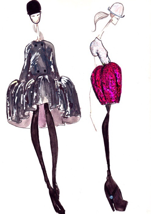 Balenciaga Fall 2006 illustrated by J Larkowsky
