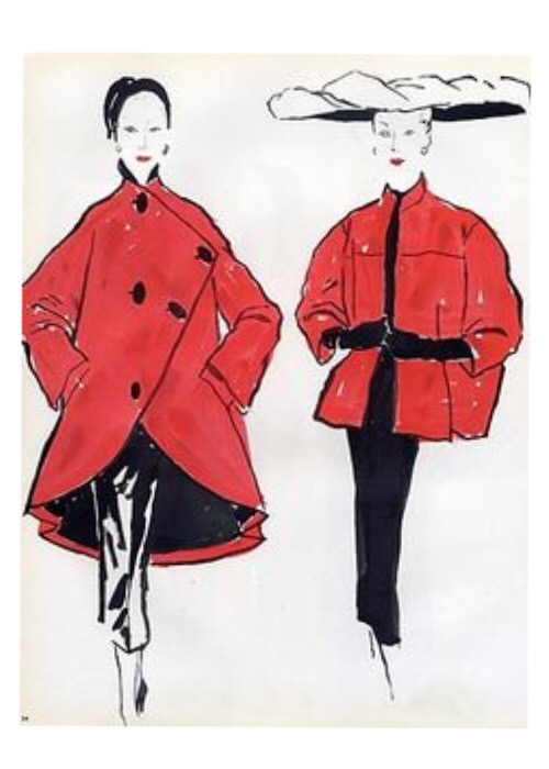 Schiaparelli and Balenciaga illustrated by Bernard Blossac, 1952