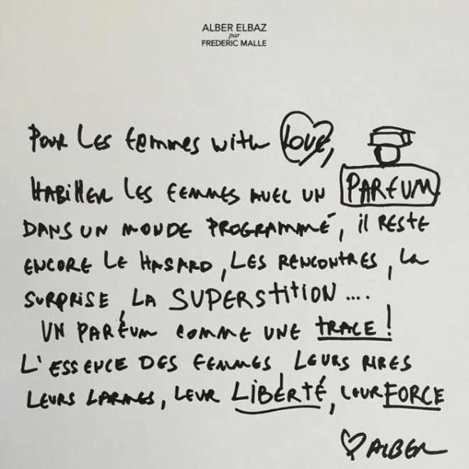 Note on Inspiration for Superstitious: Fragrance by Alber Elbaz for Frederick Malle