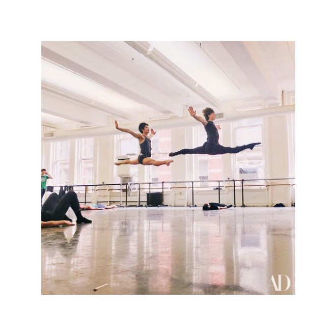American Ballet Theatre dancers midair. Photography: Henry Leutwyler Source: Architectural Digest July 2017