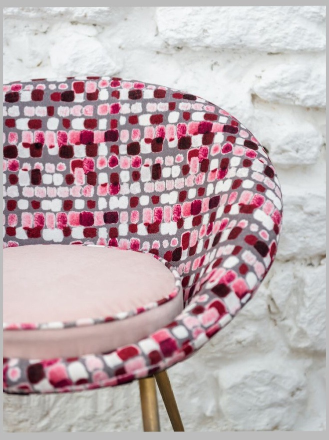 Beetle-like Dining Chair covered in Maquillage by Dominique Kieffer for Rubelli