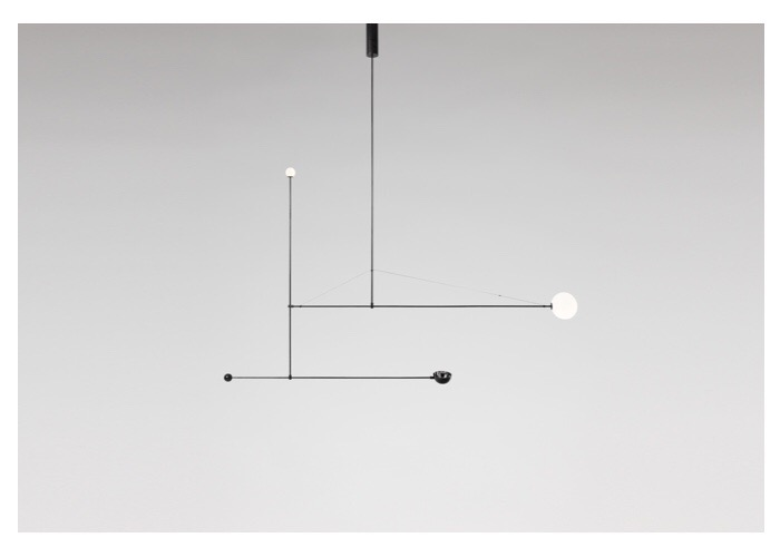 Michael Anastassiades: Mobile Chandelier 1, 2008. Black patinated brass, mouth blown opaline spheres.