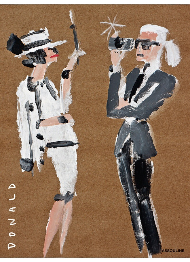 Coco Chanel & Karl Lagerfeld. Artwork by Donald Robertson. From Donald: The Book, published by Assouline