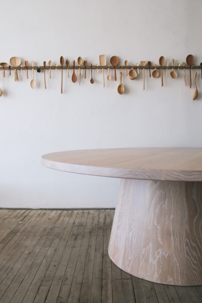 BCMT: Stave Dining Table & a selection Of Kitchen Utensils