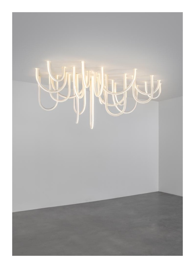 MATHIEU LEHANNEUR: LES CORDES (PARIS), 2014, GLASS, FLEX LED