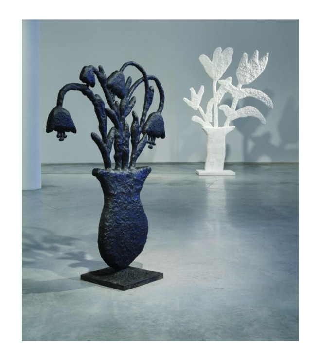 Donald Baechler, Three Tulips, 2011; plywood, plaster and papier-mâché (back); and Untitled (Flowers), 2003-2004; bronze (front); image courtesy the artist and Fisher Landau Center for Art.