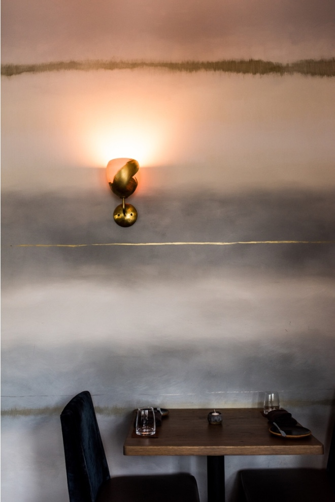 Nightbird Restaurant, SAN Francisco: 'Fog' Wall design by Caroline Lizarraga