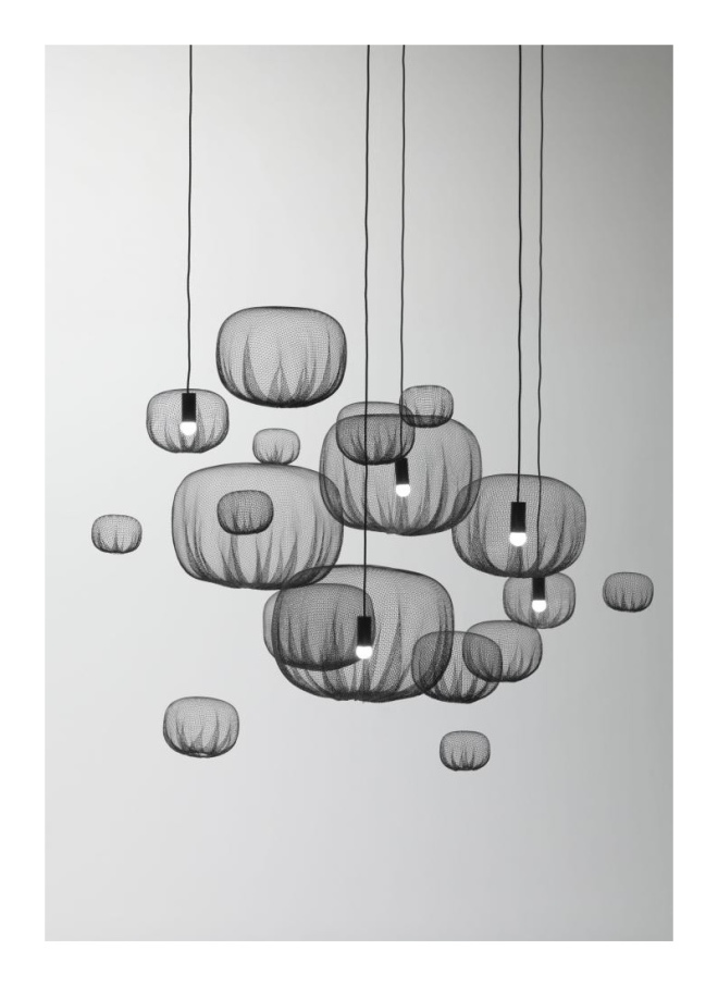 NENDO: FARMING NET LAMPS AND HANGING OBJECTS, 2011, POLYPROPYLENE