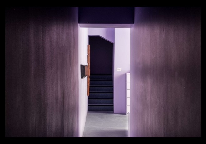 David Adjaye's Lost House: Threshold leading to the bedrooms beneath the adjacent building