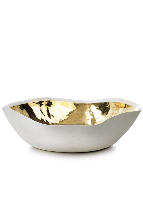 Summerill & Bishop Handmade 43cm Porcelain Extra Large Salad Bowl with Gold Glaze