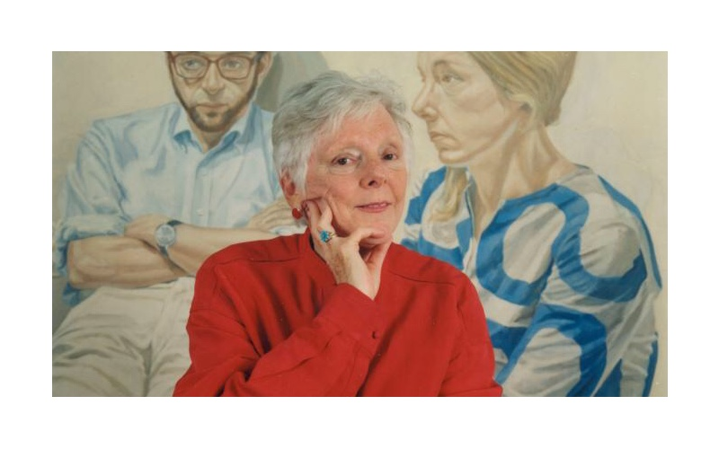Linda Nochlin in front of Philip Pearlstein's Portrait of Linda Nochlin and Richard. Images may be subject to copyright.