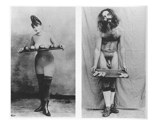 Linda Nochlin wittily illustrates and subverts standard female objectification - as seen in the 19th-century image of Buy My Apples - by photographing a male similarly objectified - seen in Buy My Bananas, 1972.