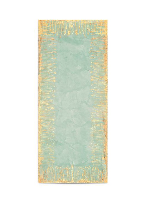 Summerill & Bishop Ink Linen Tablecloth in Light Green with Gold Drips