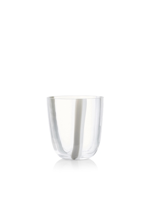 Summerill & Bishop Set of Eight Handblown Stripe Glass Tumblers in Grey & White