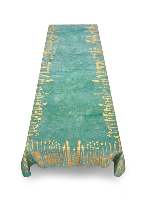 Summerill & Bishop Ink Linen Tablecloth in Deep Teal with Gold Drips