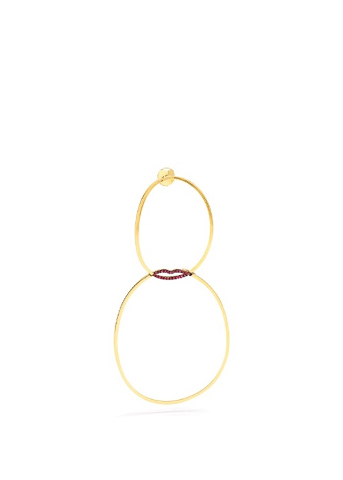 Delfina Delettrez's Ruby & 18kt yellow-gold single earring.