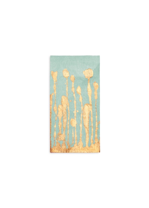 Summerill & Bishop Ink Linen Napkin in Light Green with Gold Drips