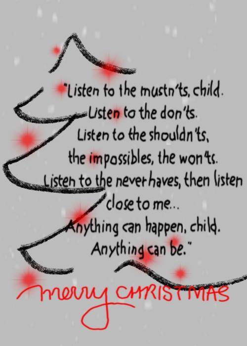 Elle illustrates on Plus Black blog: Merry Christmas 2017. Quote: Shel Silverstein.