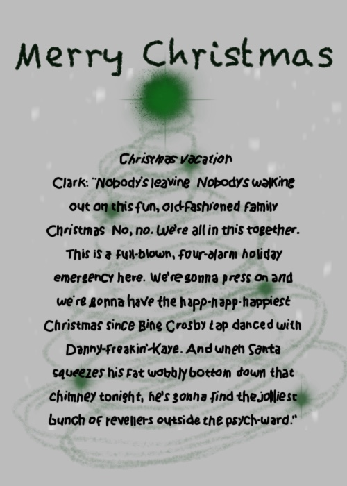 Elle illustrates on Plus Black blog: Merry Christmas 2017. Film Quote: Christmas Vacation