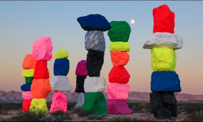 Ugo Rondinone's Seven Magic Mountains. An art installation located near Jean Dry Lake, some ten miles south of Las Vegas, Nevada.