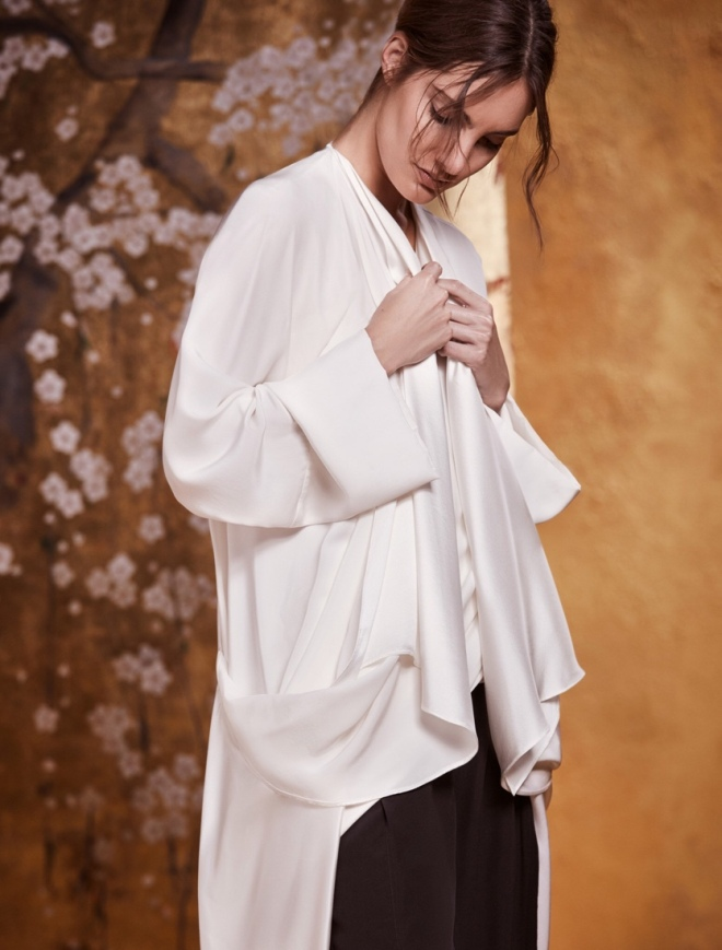 Urban Zen Orient Express Resort Collection: Silk Draped Coat and Top