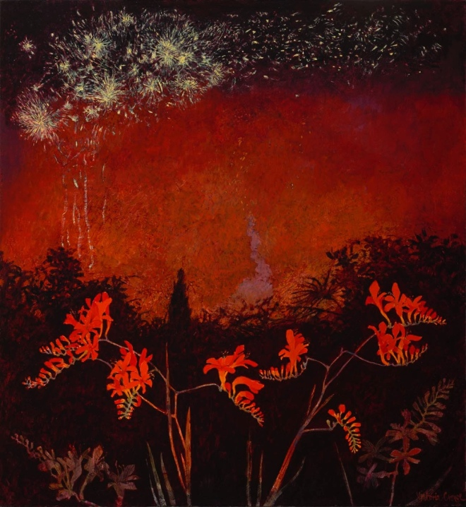 Victoria Crowe: Ferragosto Fireworks and Crocosmia Lucifer at The Scottish Gallery