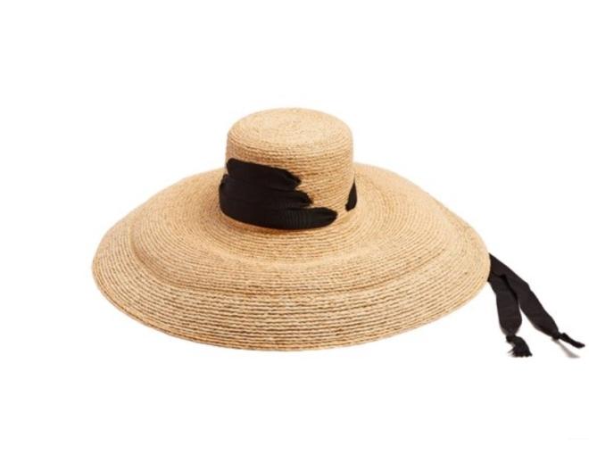 Lola Hats: Espartina laced-grosgrain raffia hat