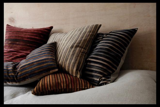 PRINTED VELVET STRIPE - double sided or linen backed. Images courtesy & © 2018 Kirsten Hecktermann.