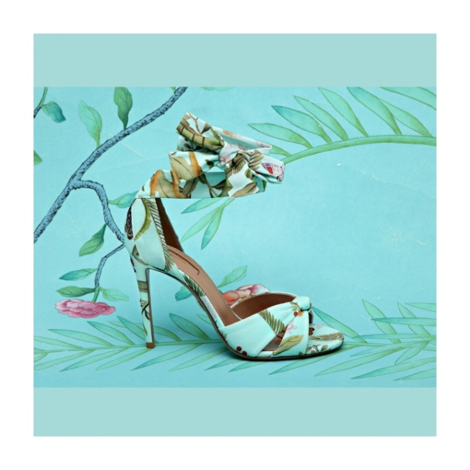 Aquazzura For De Gournay: All Tied Up Sandal