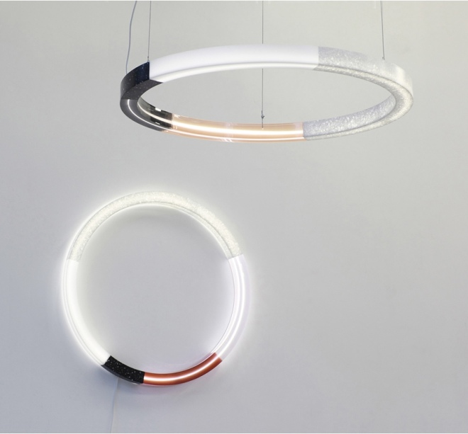 Filter by Sabine Marcelis, a series of lamps that play with the filtering of light made with HI-MACS®